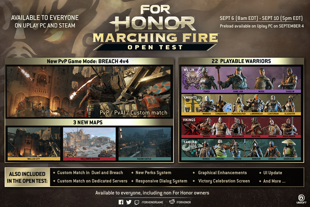 For Honor Marching Fire: le date dell'Open Test